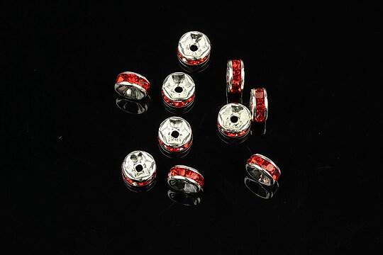 Distantiere argintii cu rhinestone rosii 2,5x6mm