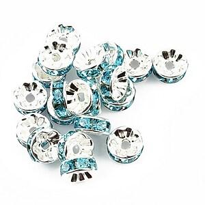 Distantiere argintii cu rhinestone bleu 4x8mm