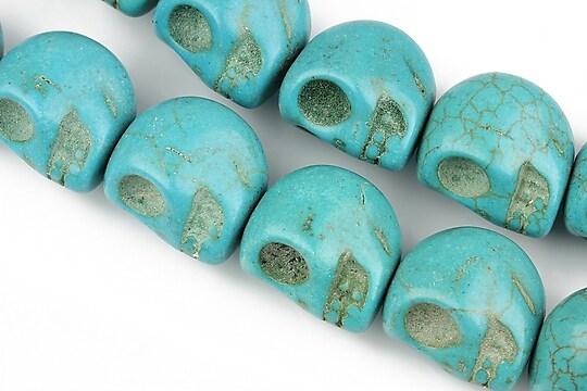 Howlit de sinteza, cap de mort 18x17mm - albastru