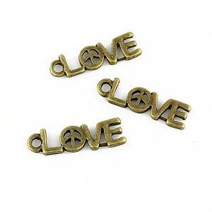 Charm bronz love 19x5mm