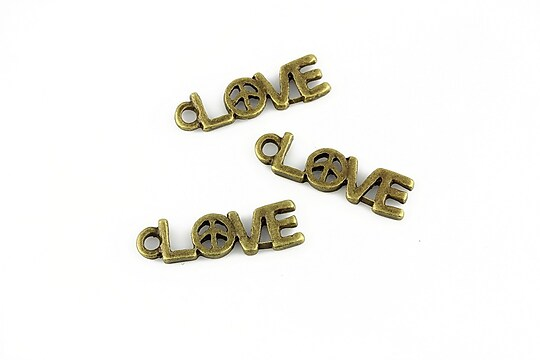 Charm bronz love 19x5mm