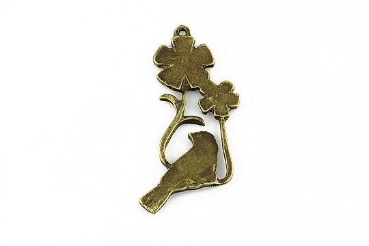 Charm bronz randunica si floricele 35x18mm
