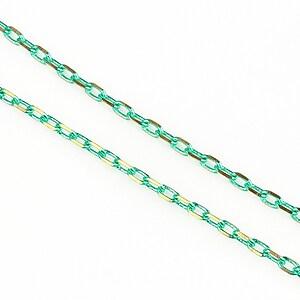 Lant cu zale in doua culori 3x2mm (49cm) - auriu - verde