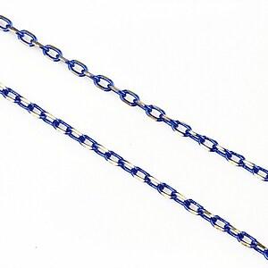 Lant cu zale in doua culori 3x2mm (49cm) - argintiu - albastru cobalt