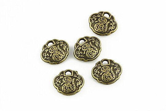 Charm bronz imagine cu sarpe 10x12mm