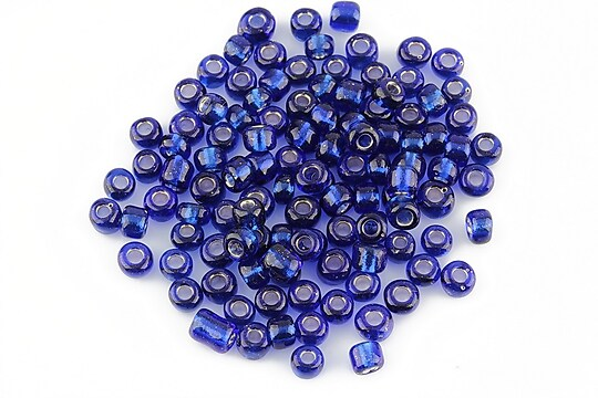 Margele de nisip 4mm cu foita argintie (50g) - cod 208 - albastru cobalt