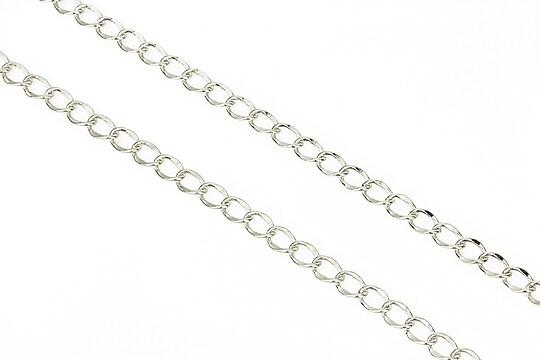 Lant argintiu inchis zale twist 4x3mm (49cm)