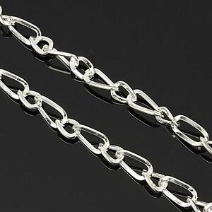 Lant argintiu zale twist 9x4,5mm + 6x4mm (49cm)
