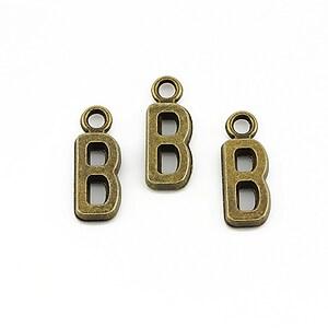 Charm bronz litera B 16x6mm