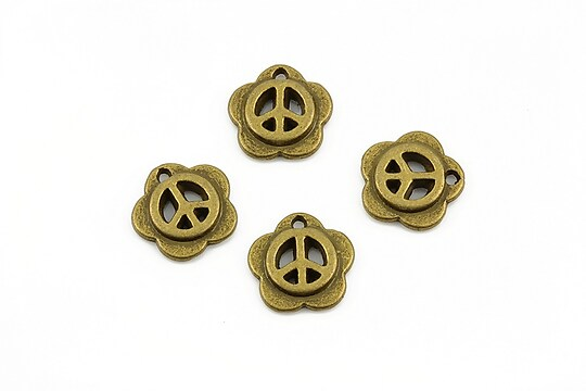 Charm bronz peace sign 12mm