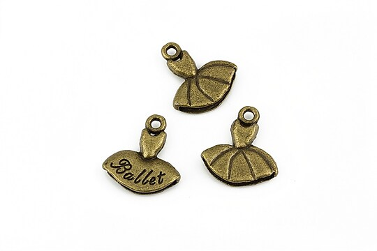 Charm bronz rochita balet 16x15mm