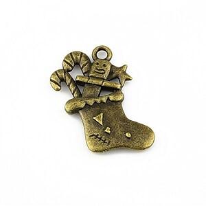 Charm bronz sosete pentru cadouri 28x18mm