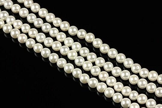 Perle tip Mallorca albe sfere 4mm