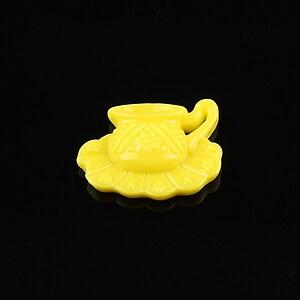 Cabochon rasina ceasca 16x22mm - galben