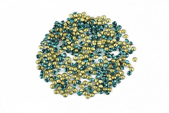 Cabochon rhinestone cristal 2mm (20 buc.) - verde turcoaz