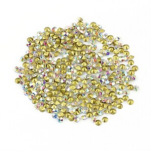Cabochon rhinestone cristal 2mm (20 buc.) - alb cu efect AB