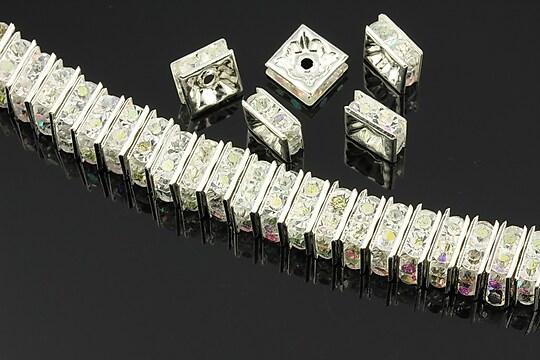 Distantiere argintii cu rhinestones albe cu efect AB, 8mm (patrate 3,5x8mm)