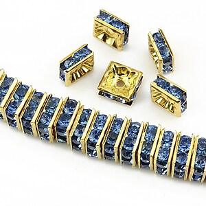 Distantiere aurii cu rhinestones albastre 8mm (patrate 3,5x8mm)