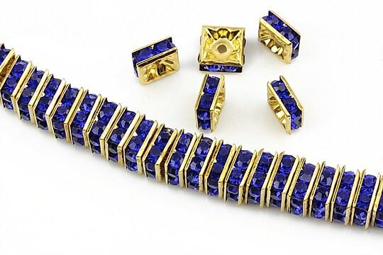 Distantiere aurii cu rhinestones albastru cobalt 8mm (patrate 3,5x8mm)
