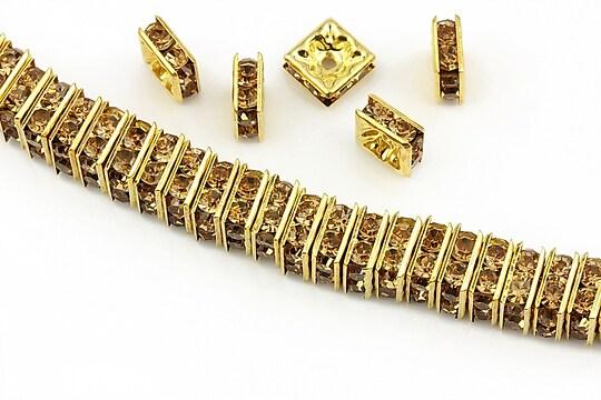 Distantiere aurii cu rhinestones maro 8mm (patrate 3,5x8mm)