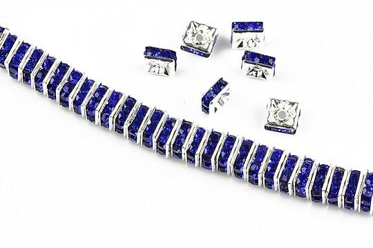 Distantiere argintii cu rhinestones albastru cobalt 6mm (patrate 2,5x6mm)