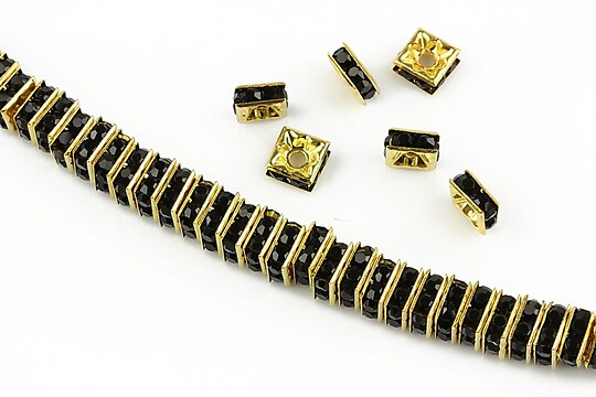 Distantiere aurii cu rhinestones negre 6mm (patrate 2,5x6mm)