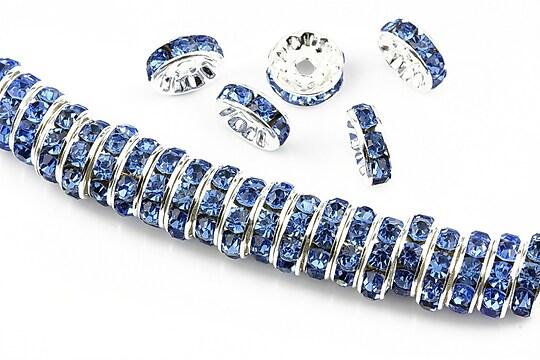 Distantiere argintii cu rhinestones albastre 10mm (rondele 3,5x10mm)