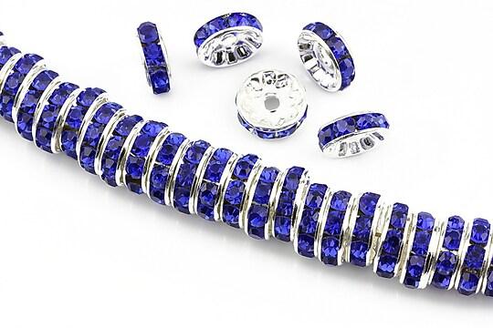 Distantiere argintii cu rhinestones albastru cobalt 10mm (rondele 3,5x10mm)