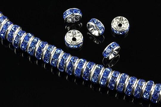 Distantiere argintii cu rhinestones albastre 8mm (rondele 3,5x8mm)