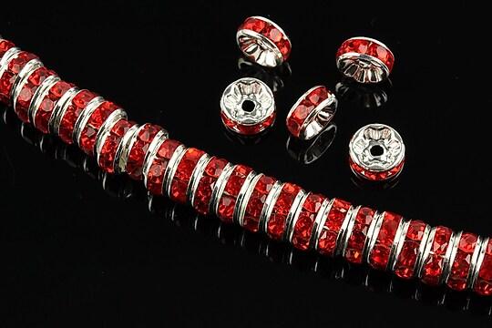 Distantiere argintii cu rhinestones rosii 8mm (rondele 3,5x8mm)