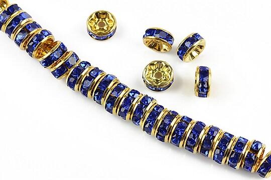 Distantiere aurii cu rhinestones albastru cobalt  8mm (rondele 3,5x8mm)