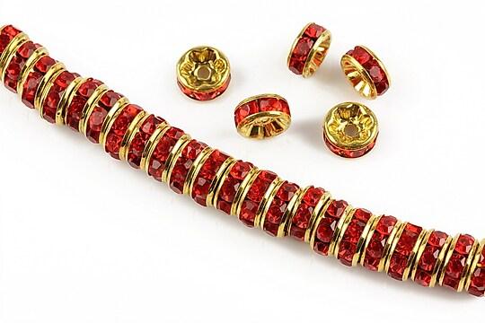 Distantiere aurii cu rhinestones rosii 8mm (rondele 3,5x8mm)