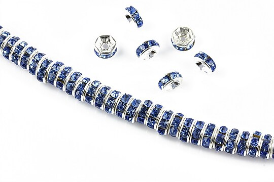 Distantiere argintii cu rhinestones albastre 6mm (rondele 2,5x6mm)
