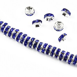 Distantiere argintii cu rhinestones albastru cobalt 6mm (rondele 2,5x6mm)