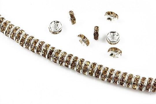 Distantiere argintii cu rhinestones maro 6mm (rondele 2,5x6mm)