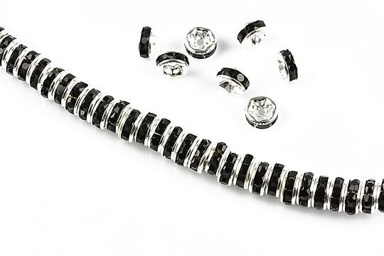 Distantiere argintii cu rhinestones negre 6mm (rondele 2,5x6mm)