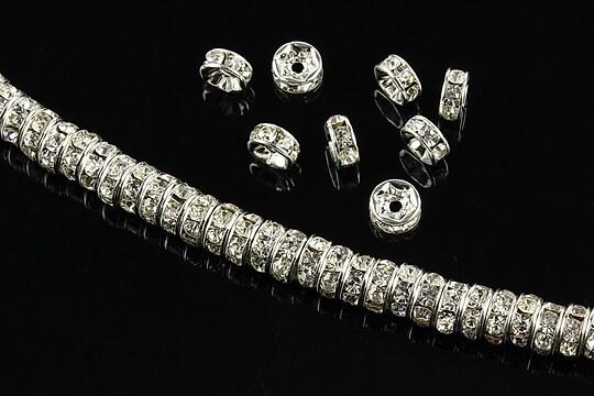 Distantiere argintii cu rhinestones albe 6mm (rondele 2,5x6mm)