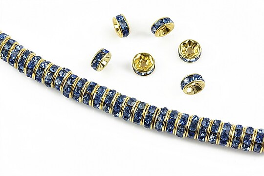 Distantiere aurii cu rhinestones albastre 6mm (rondele 2,5x6mm)