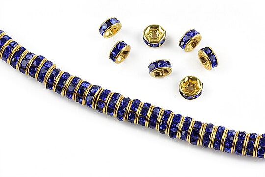 Distantiere aurii cu rhinestones albastru cobalt 6mm (rondele 2,5x6mm)