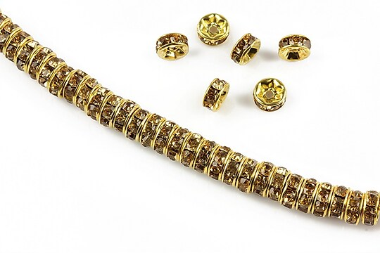 Distantiere aurii cu rhinestones maro 6mm (rondele 2,5x6mm)