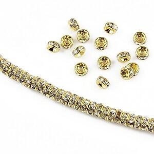Distantiere aurii cu rhinestones albe 4mm (rondele 2x4mm)