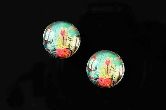 "Cabochon sticla 16mm ""Fantasy world"" cod 006"