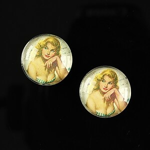 "Cabochon sticla 16mm ""Pin Up Models"" cod 011"