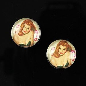"Cabochon sticla 16mm ""Pin Up Models"" cod 013"