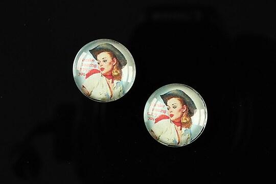 "Cabochon sticla 16mm ""Pin Up Models"" cod 015"