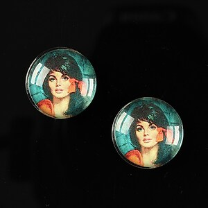 "Cabochon sticla 16mm ""Vintage ladies"" cod 016"