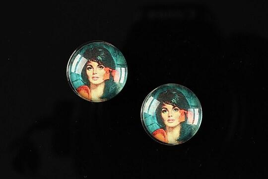 "Cabochon sticla 16mm ""Vintage ladies"" cod 016"