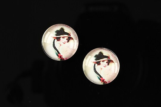 "Cabochon sticla 16mm ""Vintage ladies"" cod 020"