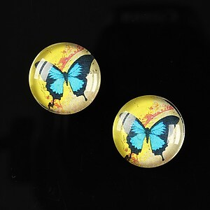 "Cabochon sticla 16mm ""Colorful wings"" cod 027"