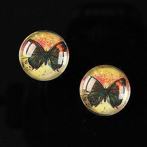 "Cabochon sticla 16mm ""Colorful wings"" cod 031"